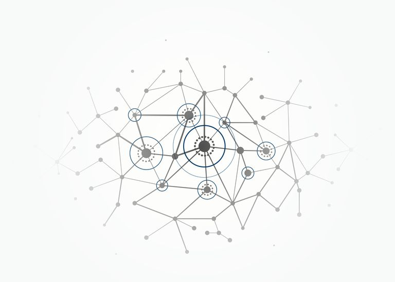 Network concept connections with lines, circles and dots