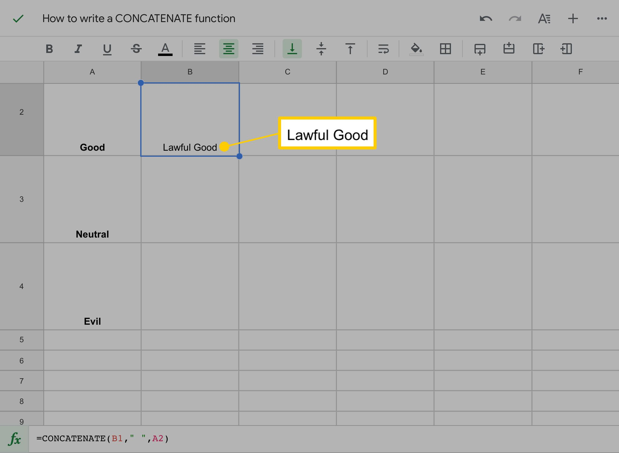 Concatenate function in Google Sheets