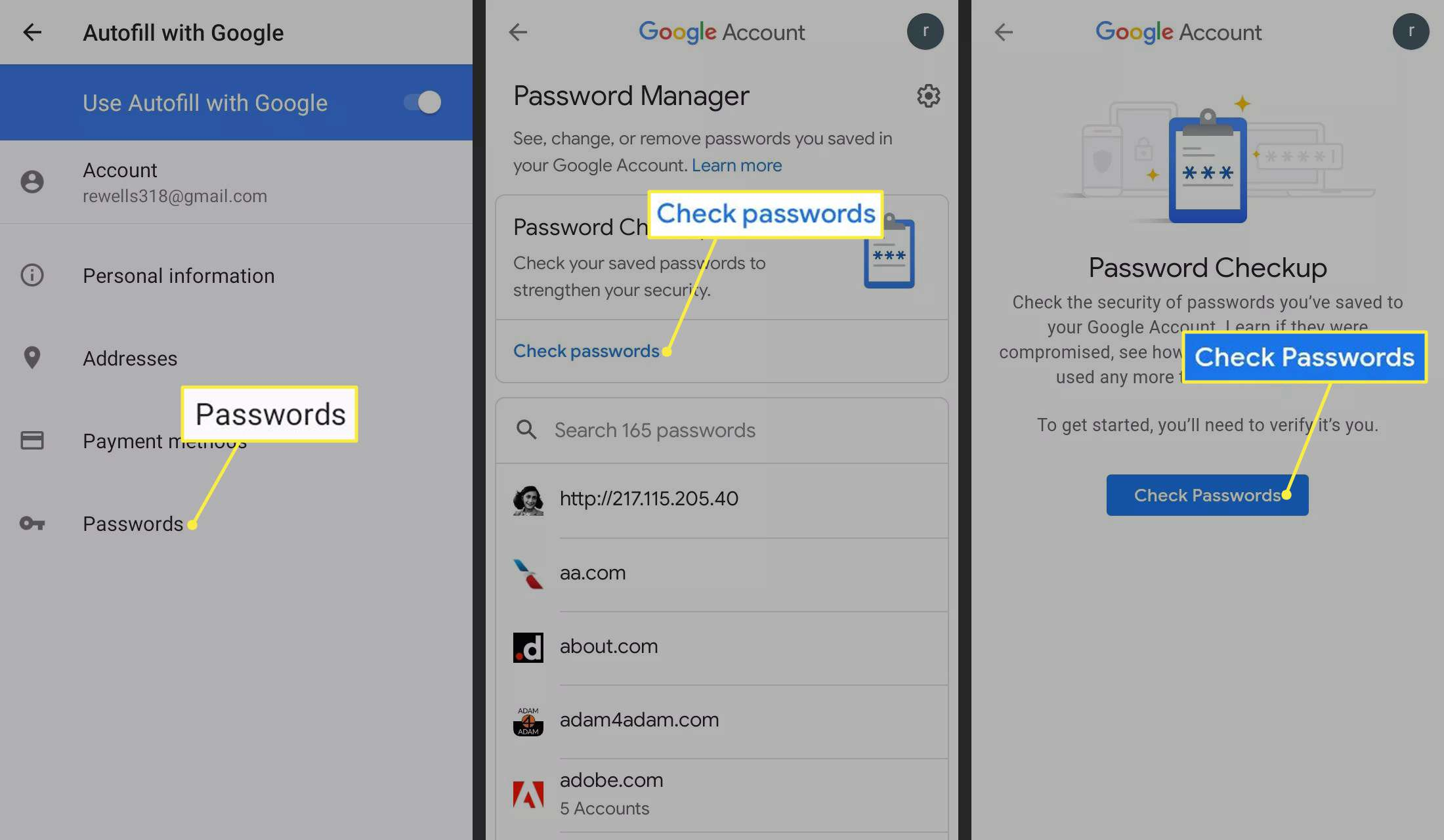 Passwords and Check passwords highlighted in Android Settings