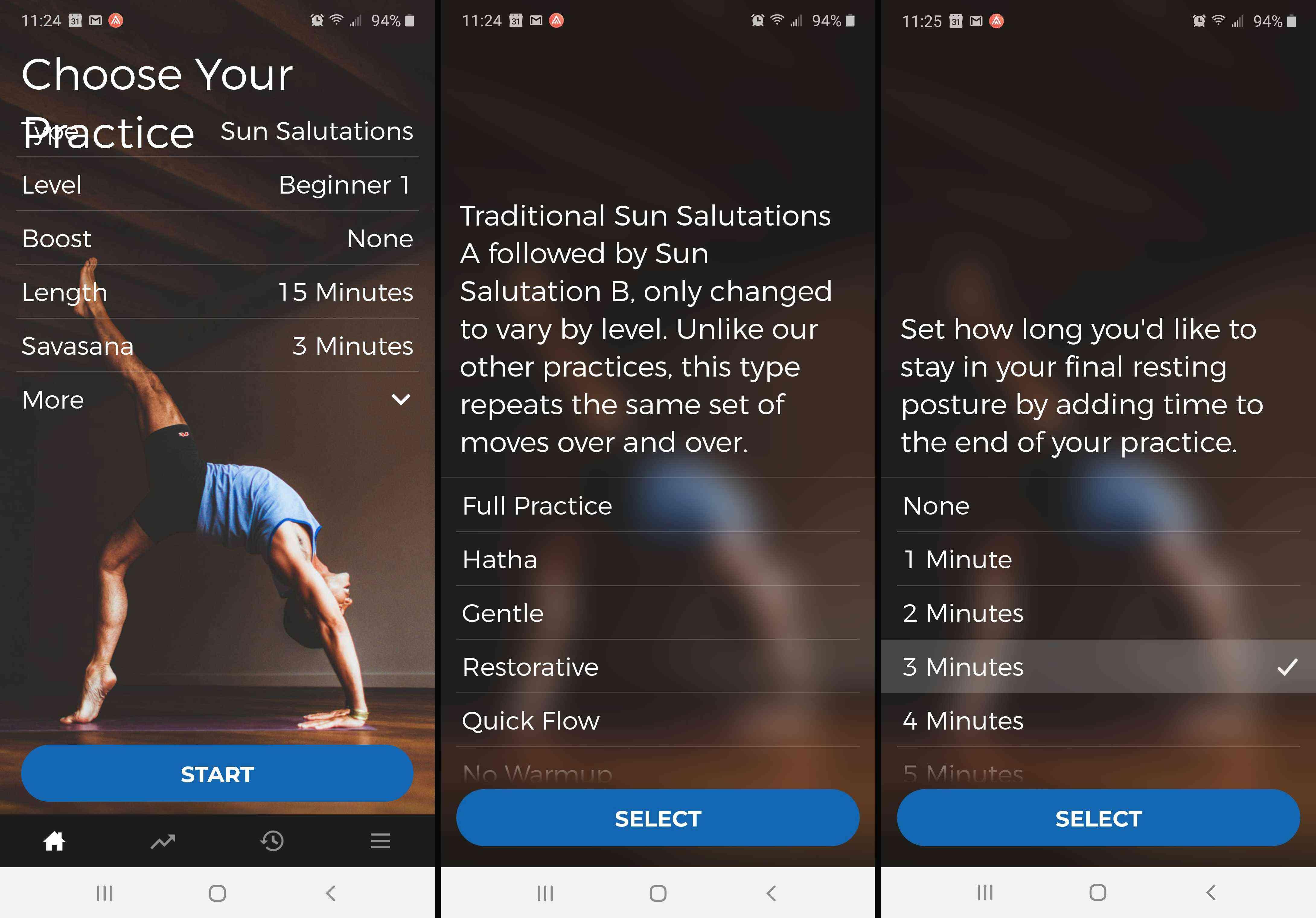 Screenshots from the DownDog yoga app.