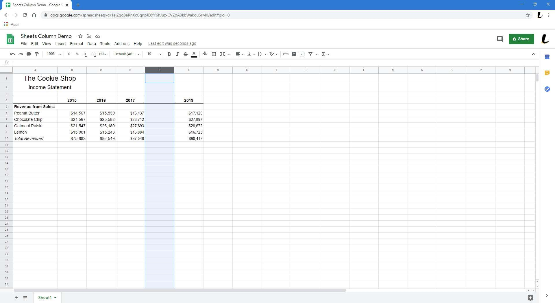 Google Sheets is showing a spreadsheet with a new column added.