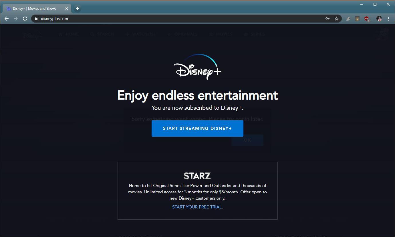 A screenshot of Disney+