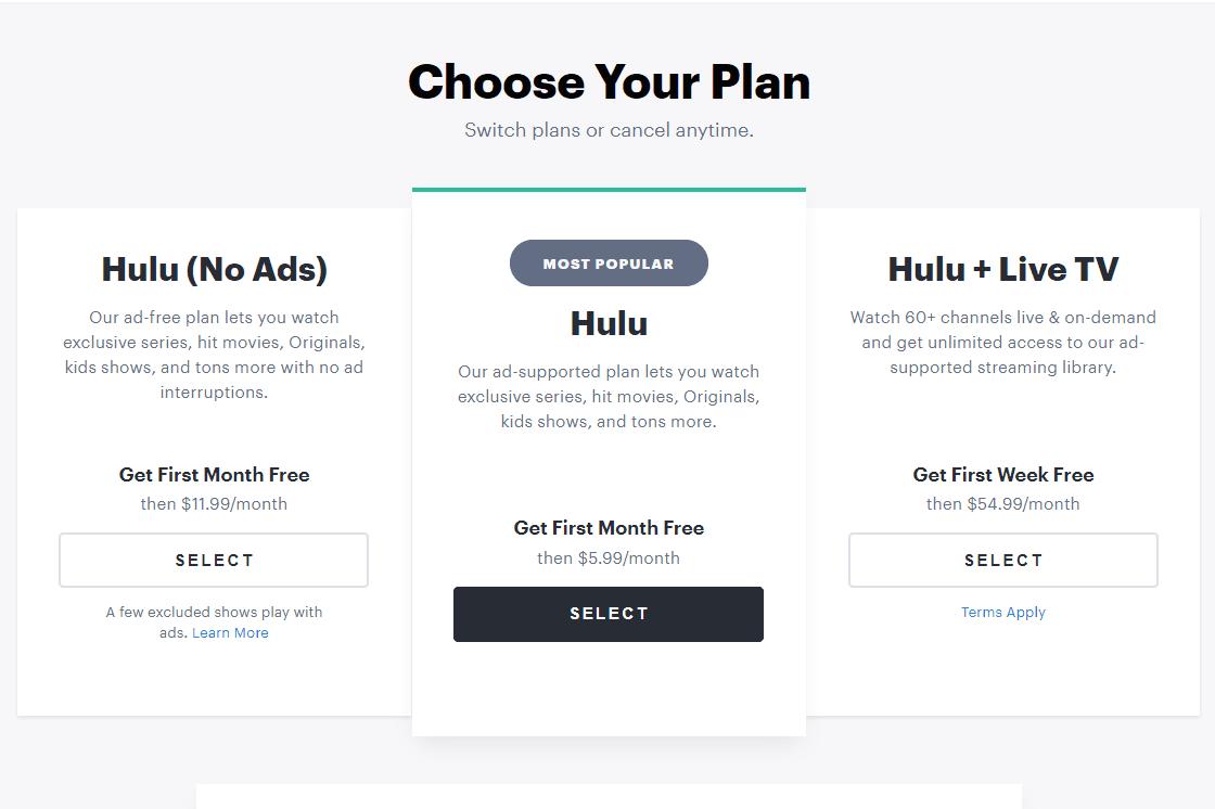 Hulu Choose Your Plan page