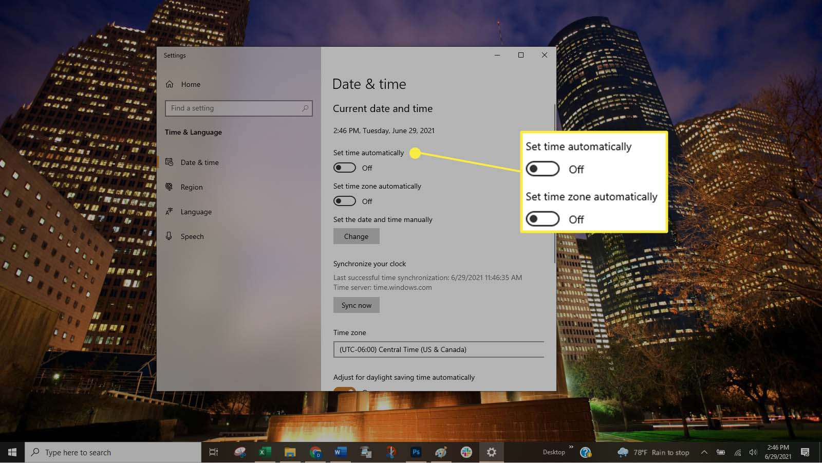 Changing the settings in Windows to allow you to manually change date and time.