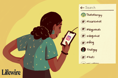 Illustration of a person looking at their search history on Instagram