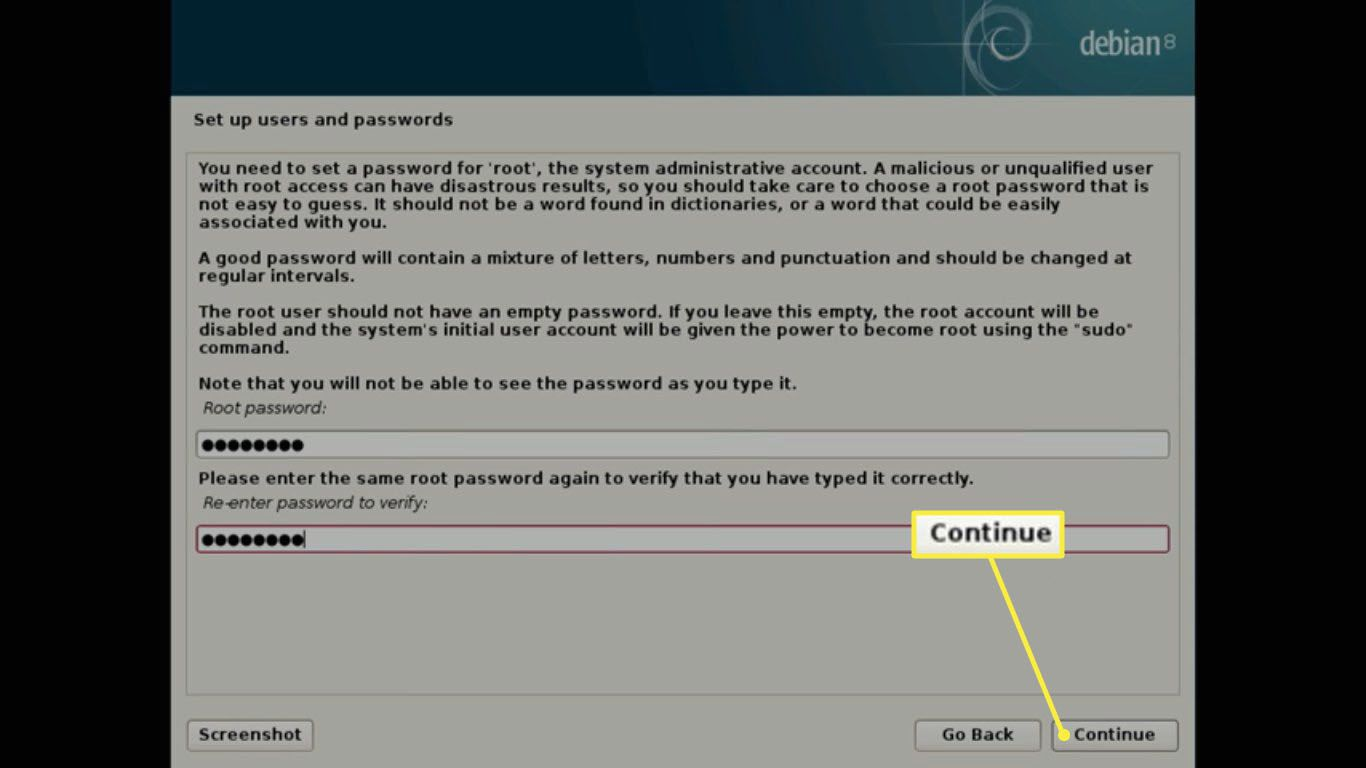 Create a root password.