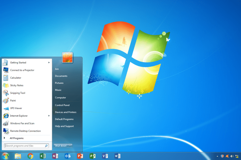 Windows 7 Start Menu and desktop
