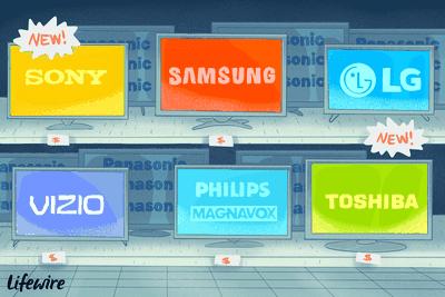 Illustration of Sony, Samsung, LG, Vizio, Philips Magnavox, and Toshiba TVs in a retail display