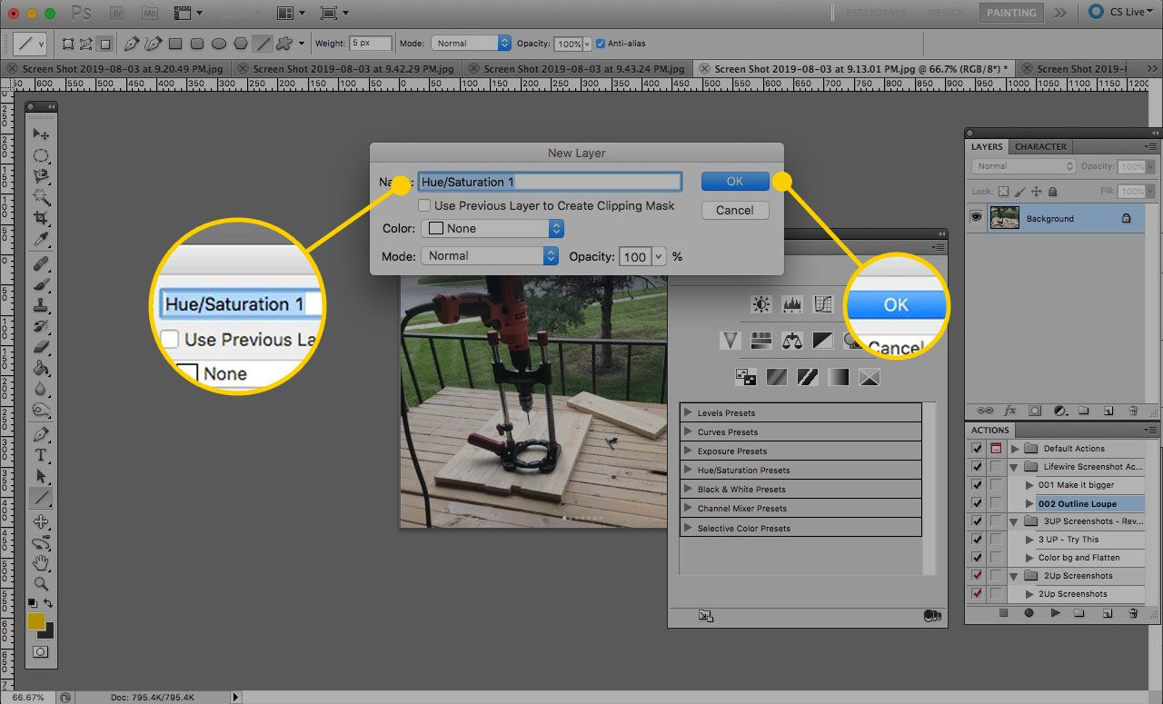 New Layer window in Photoshop