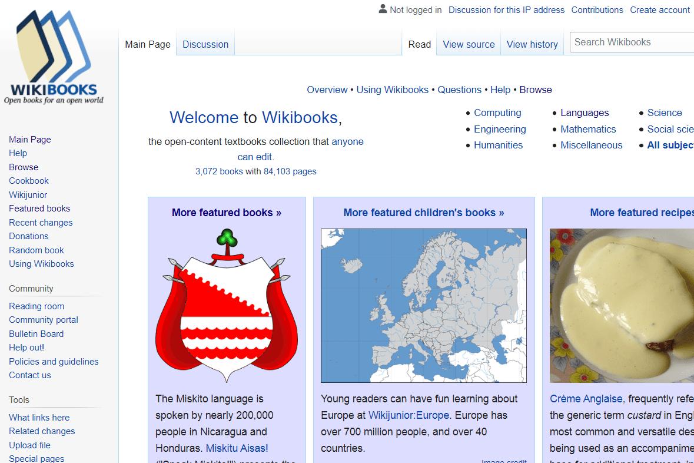 Wikibooks home page