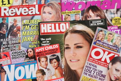 A collection of entertainment gossip magazines
