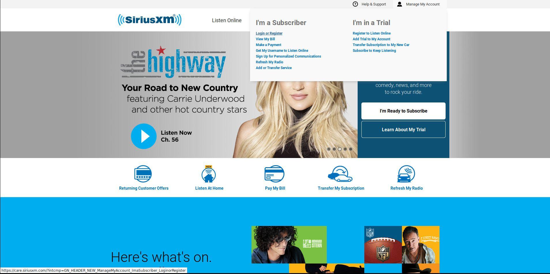 SiriusXM homepage.