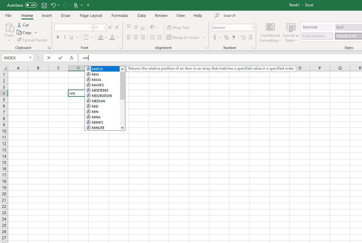 Functions starting with M in Excel