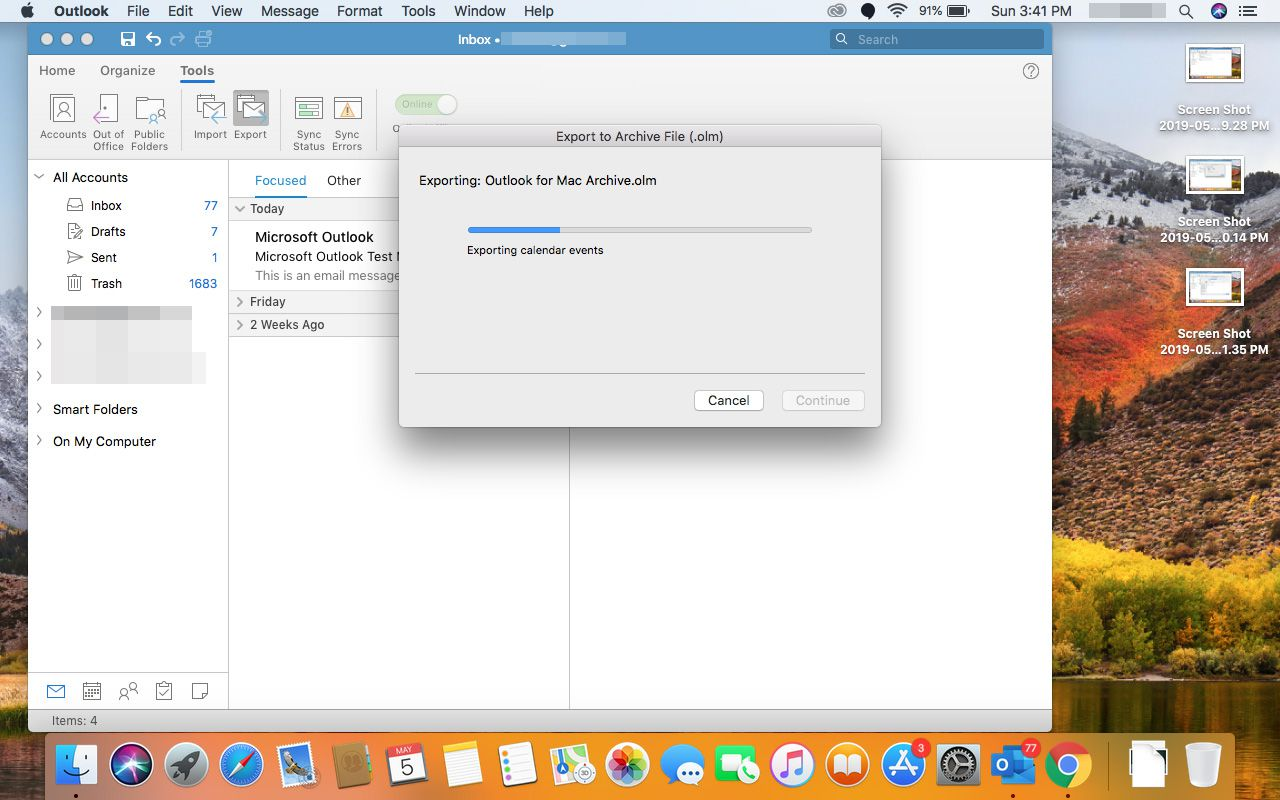 Files being exported from Outlook for Mac.