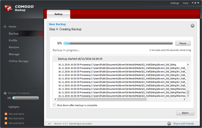 A screenshot of COMODO Backup v4