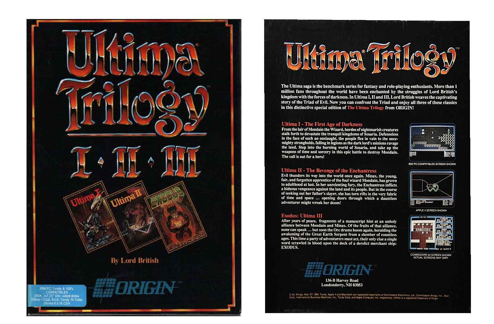 Ultima Trilogy Box Art