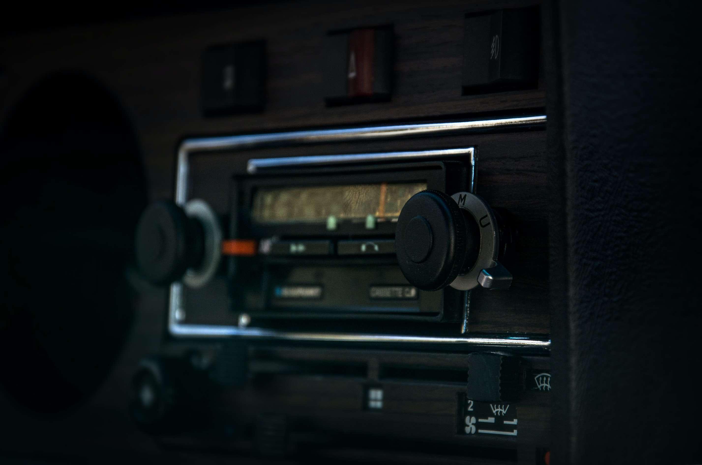black 1-din car radio unit