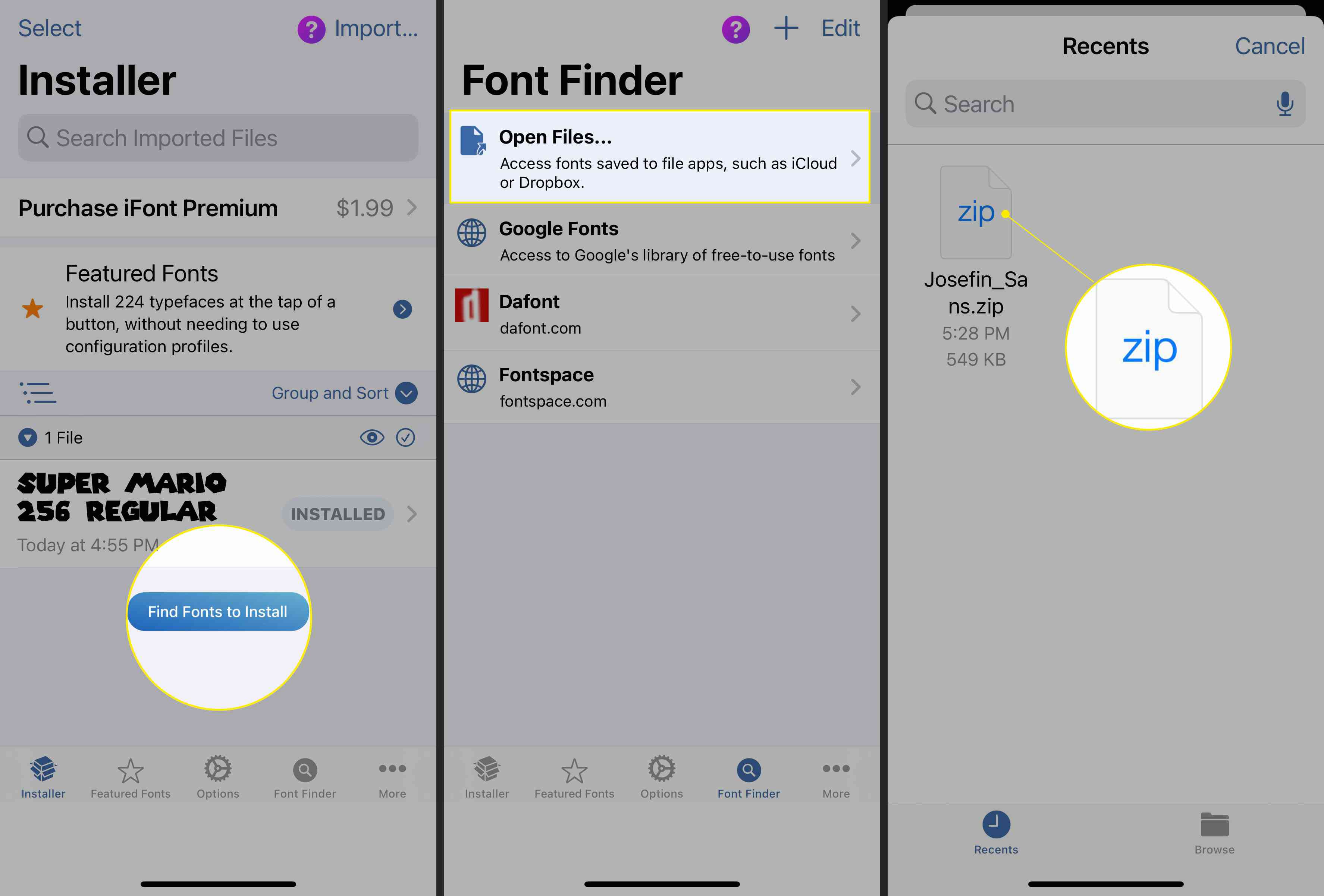 Font Finder with Find Fonts to Install, Open Files, and the font file highlighted