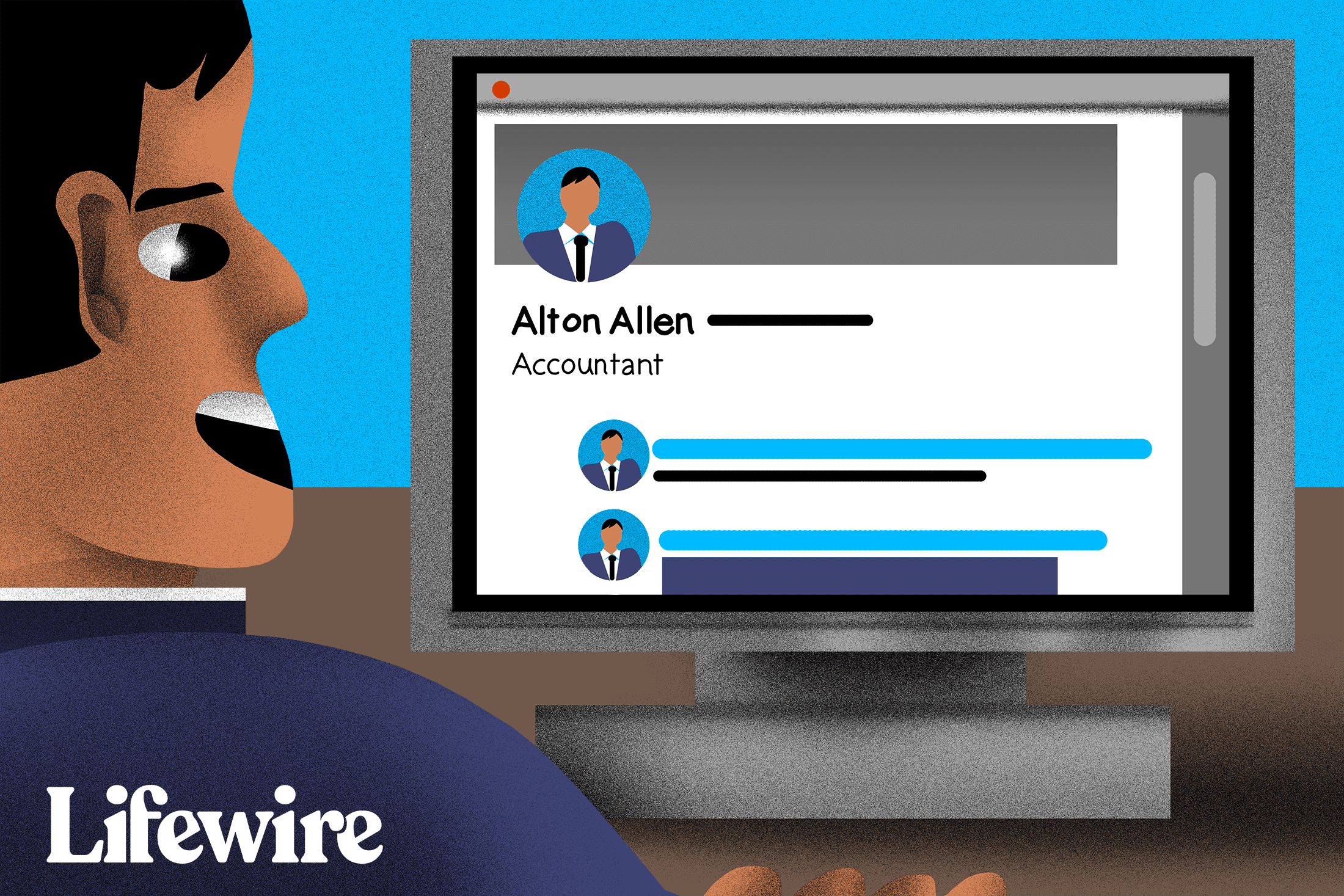 Someone in a suit looking at Alton Allen's profile on LinkedIn