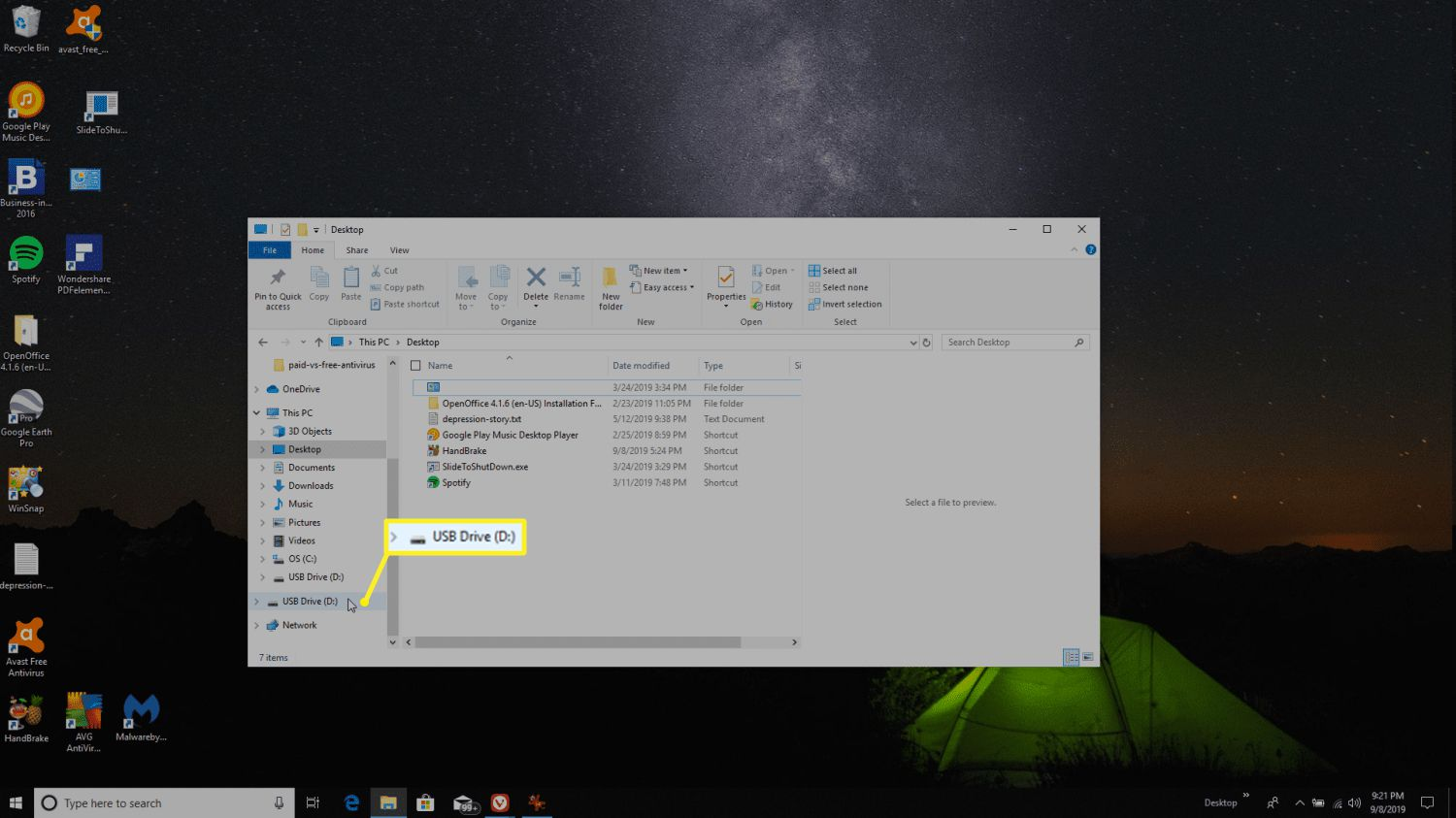 Attaching a USB stick to a computer