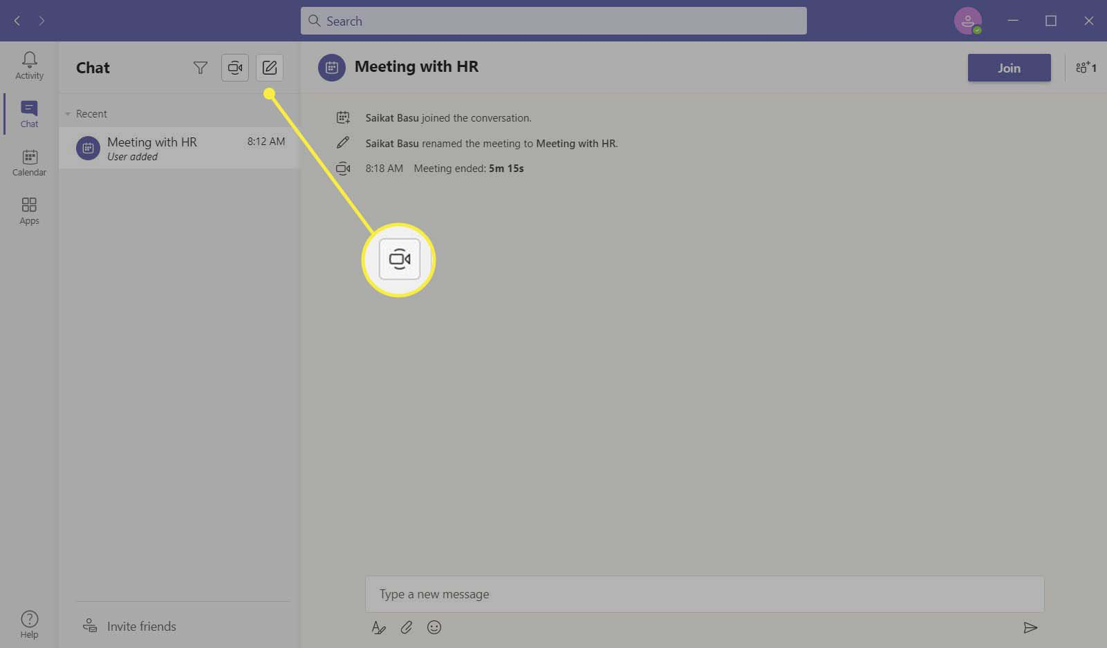 The camera icon highlighted in Microsoft Teams.