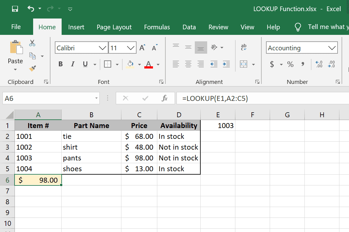 How to Use the LOOKUP Function in Excel