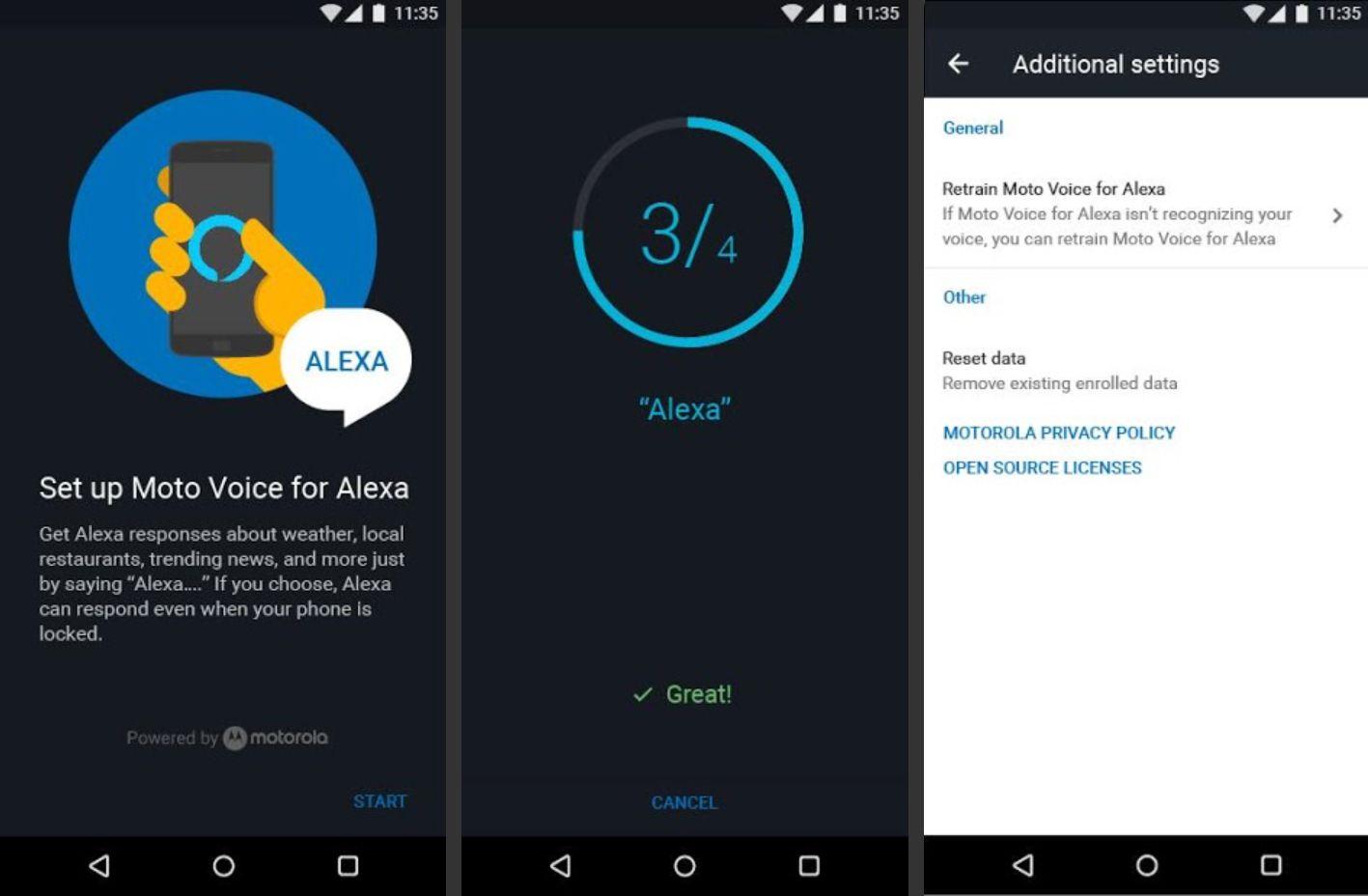 Moto Voice app showing the Alexa setup