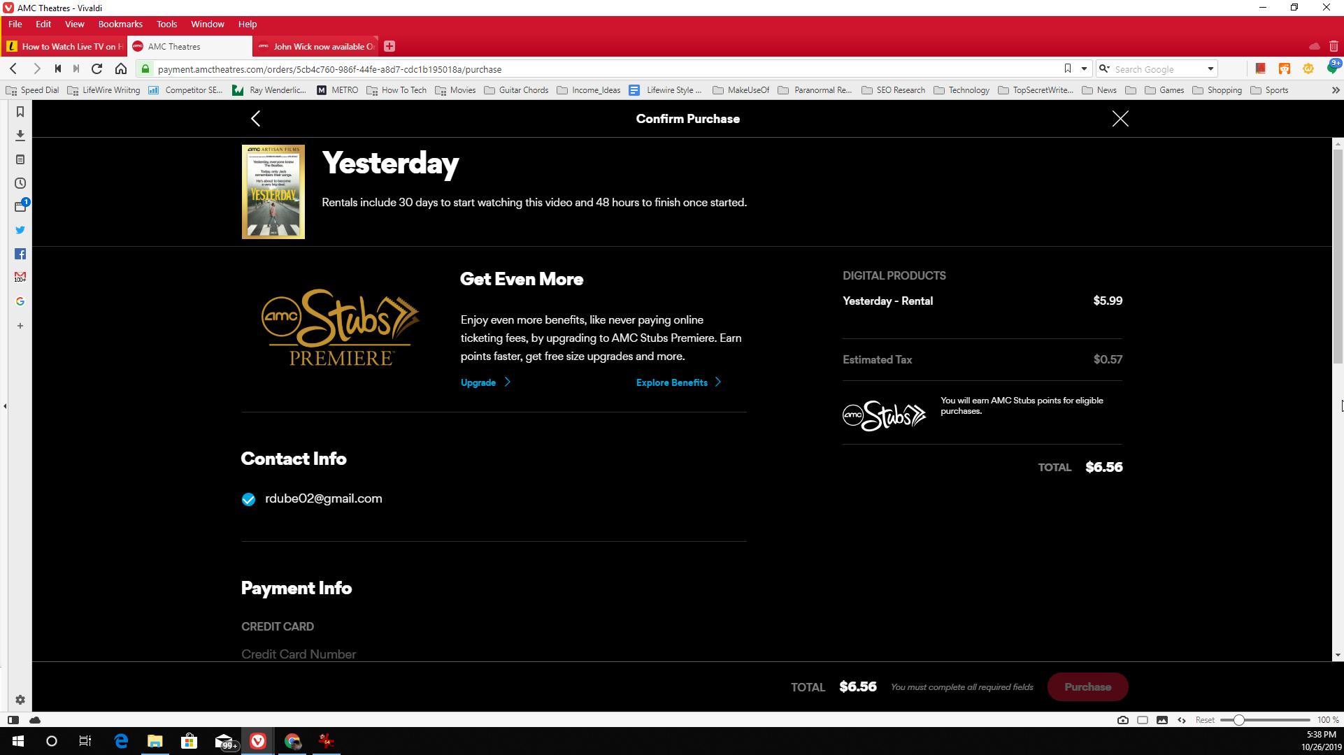 Screenshot of purchasing a movie