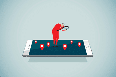 Animated man with magnifying glass locating something on a large phone