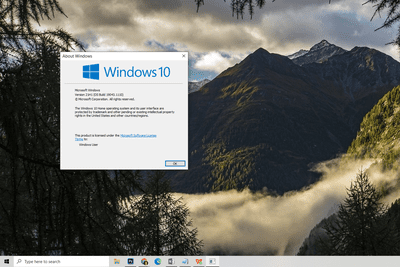 Windows 10 About Windows prompt
