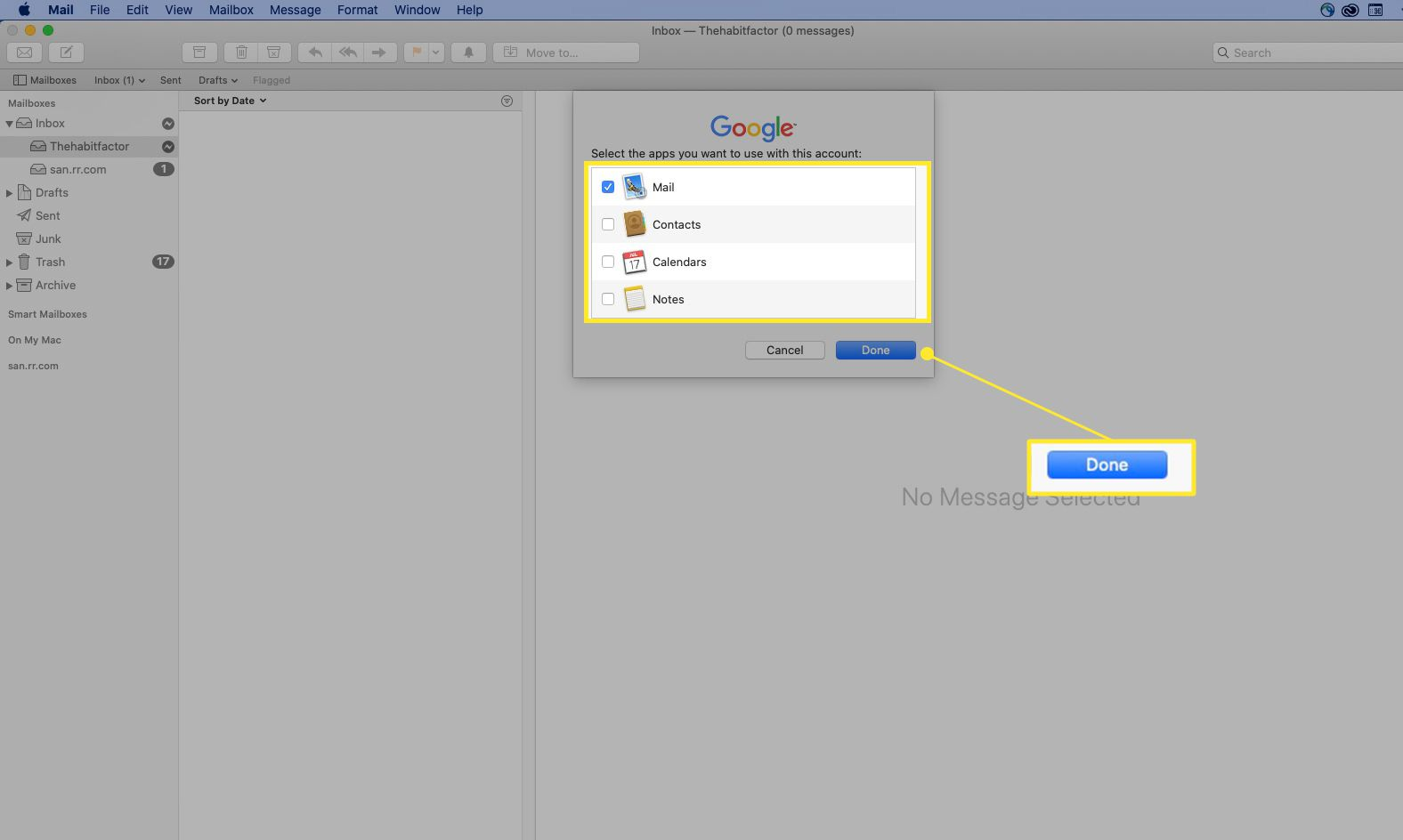 Options to sync with macOS in Gmail highlighted, and Done highlighted
