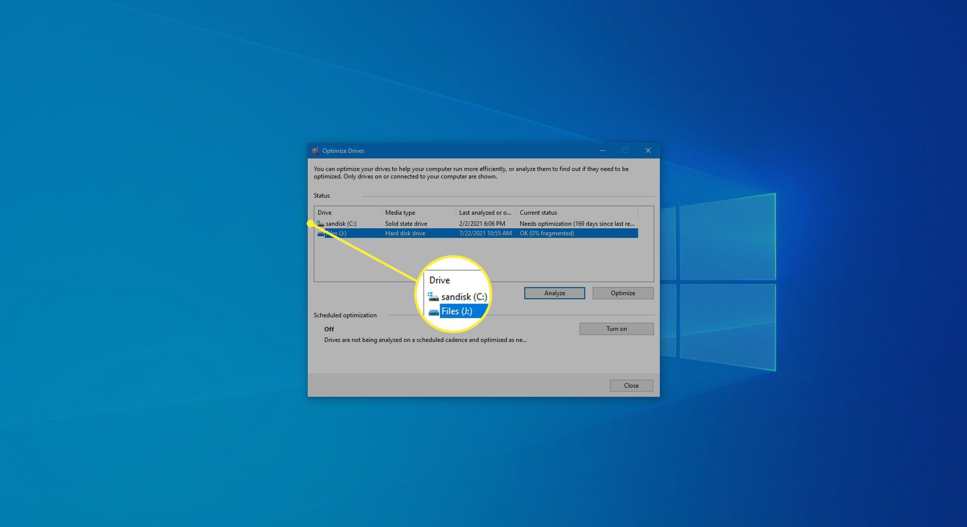 Selecting a drive to optimize in Windows 10.