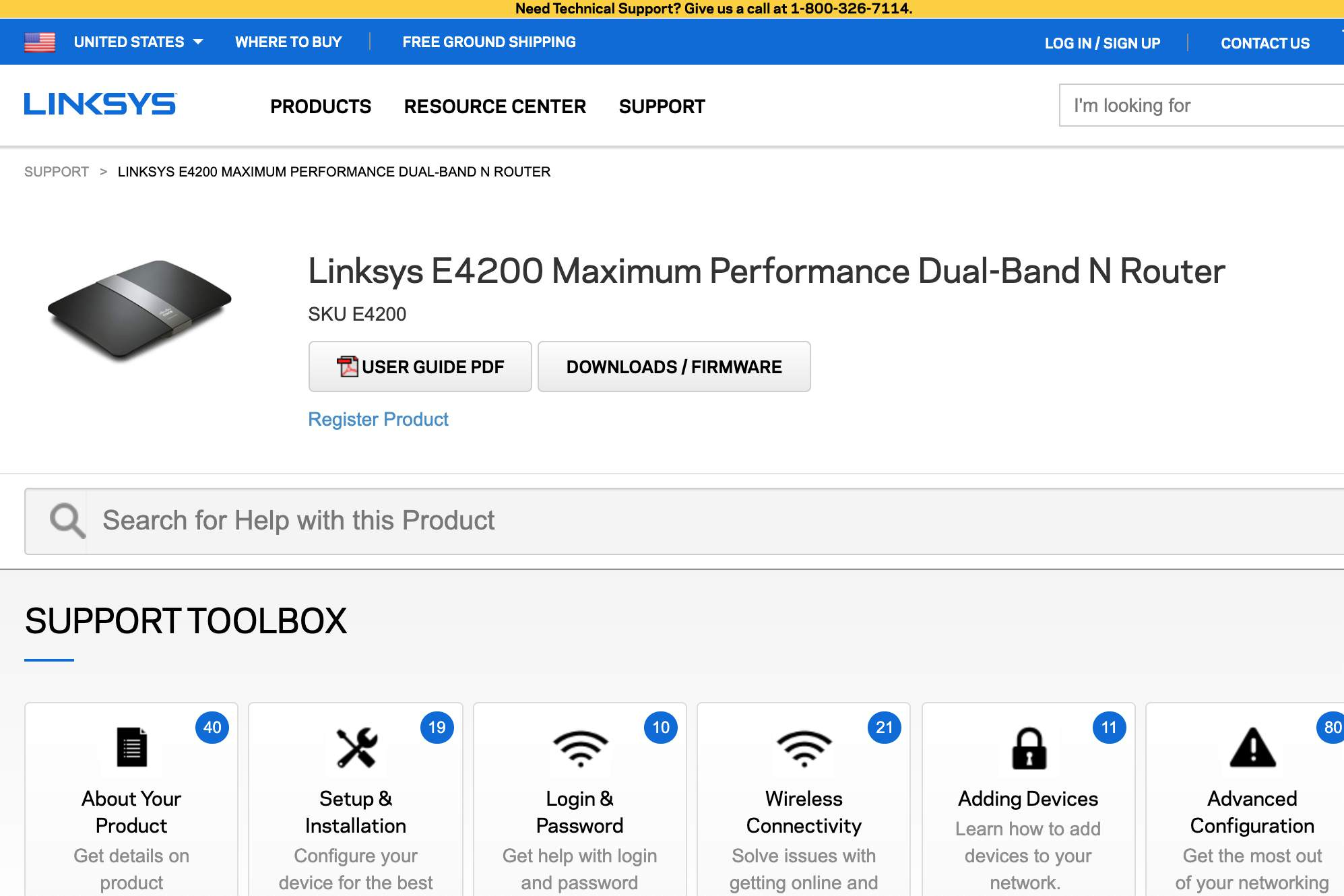 Linksys E4200 default password