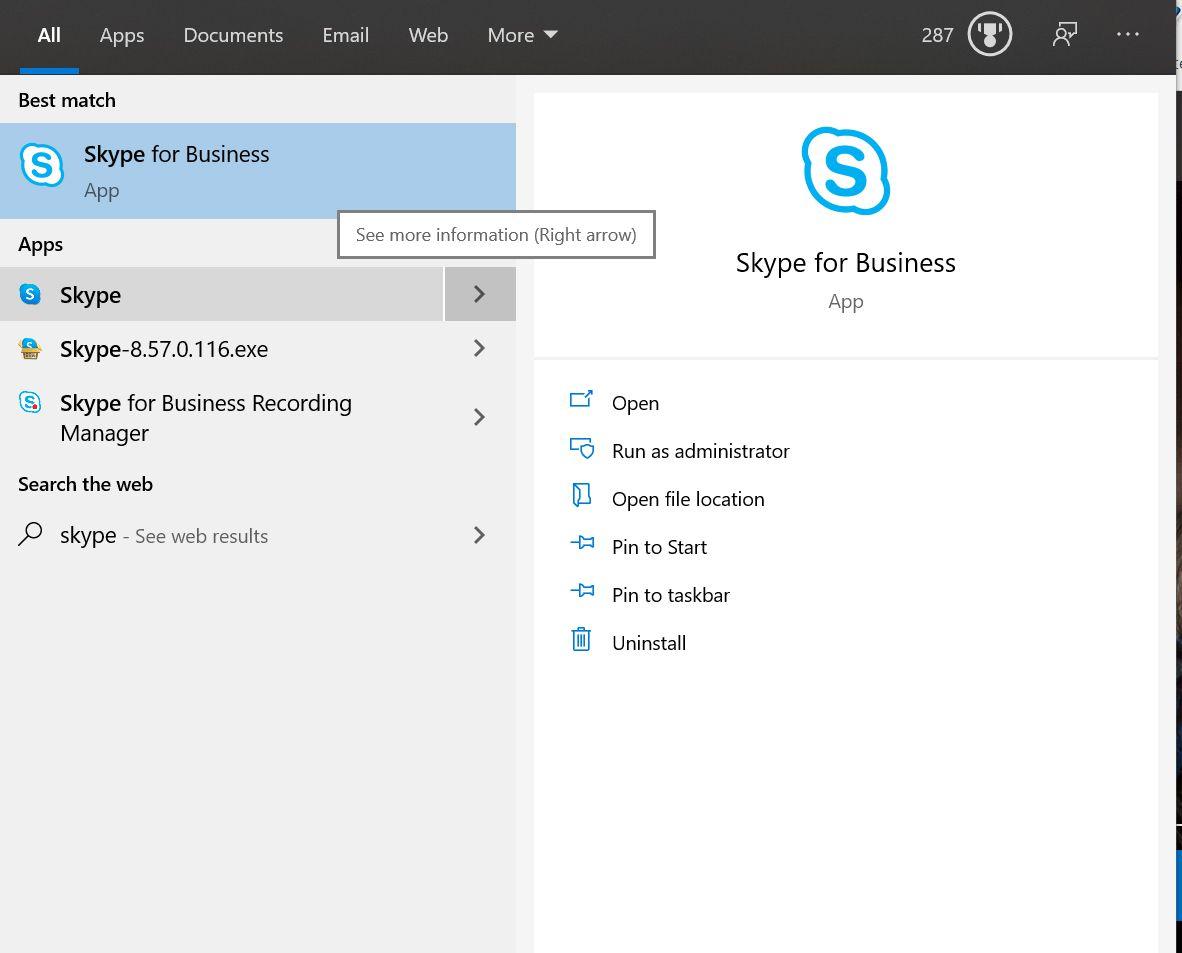 Skype app search.