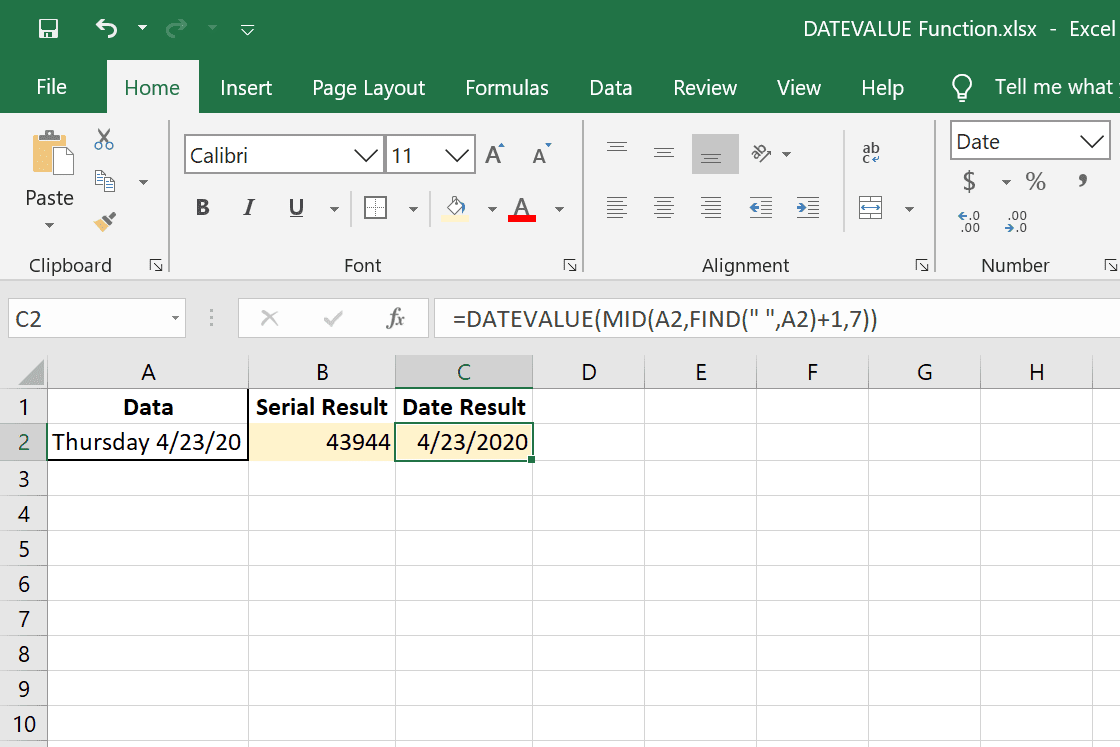 DATEVALUE Excel function combined with MID and FIND