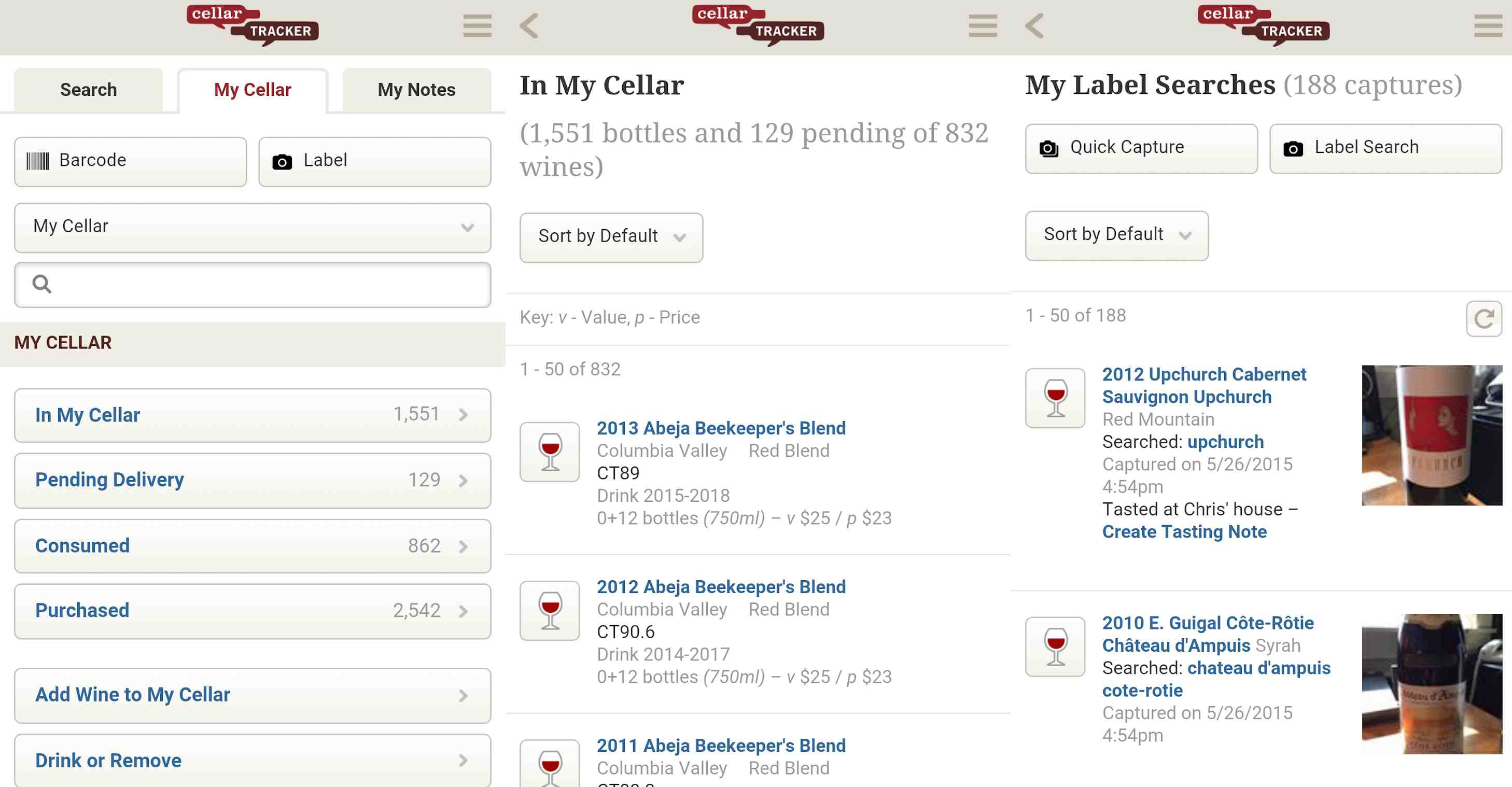Cellar Tracker wine app on iOS and Android.