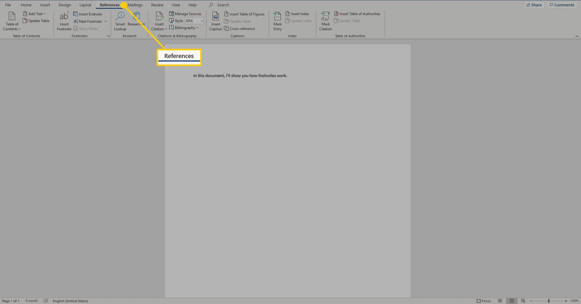 References tab in Word