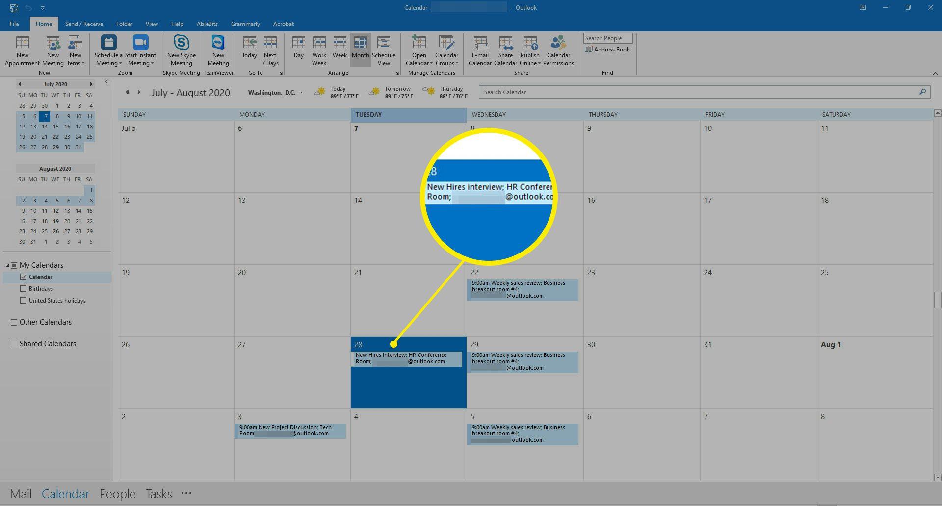 Opening up a meeting on an Outlook calendar.