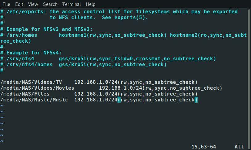 Raspberry Pi NFS exports