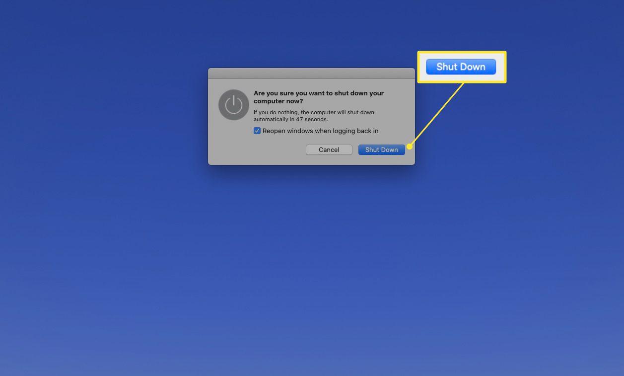 Mac shutdown dialog with