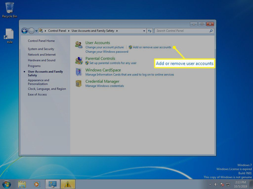Windows 7 User account with Add or remove user accounts selected