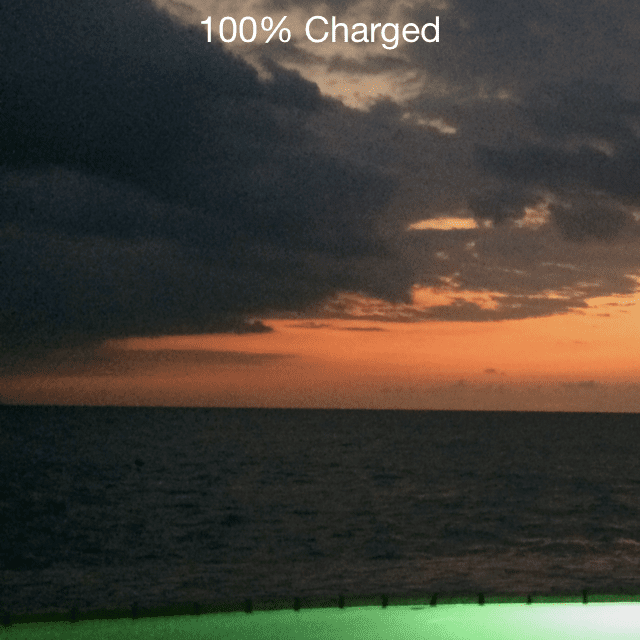 100% charged screen on an iPhone
