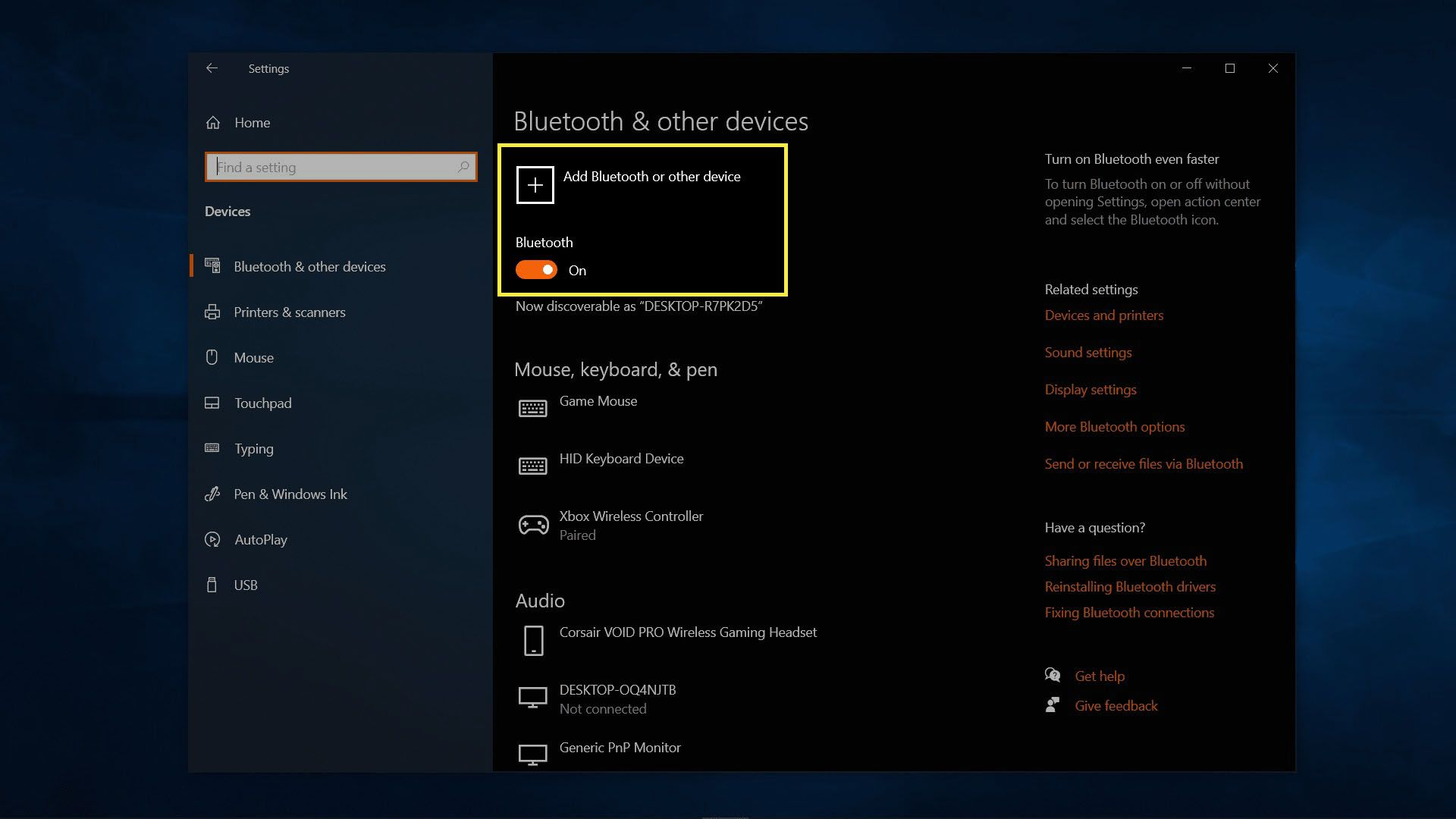 Bluetooth and other devices menu on Windows 10.
