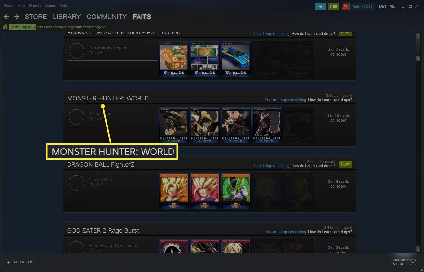 Steam list of incomplete badges with one selected