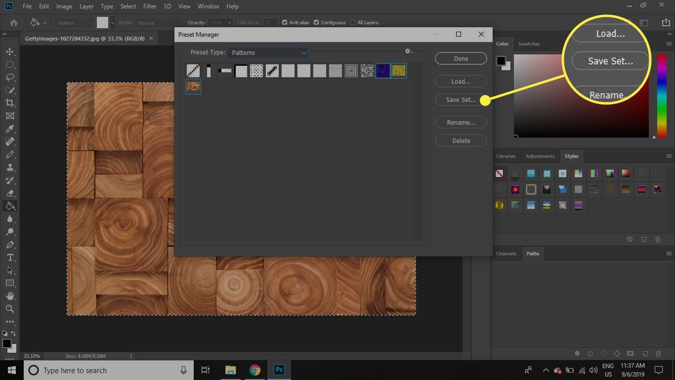 A screenshot of Photoshop's Preset Manager screen with the Save Set button highlighted