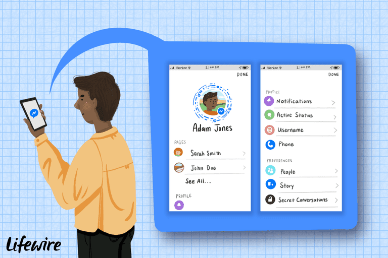 Illustration of a person adding friends to Facebook Messenger on a smartphone