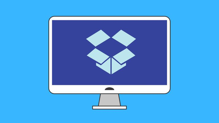 An image graphic of the dropbox logo on a computer monitor.