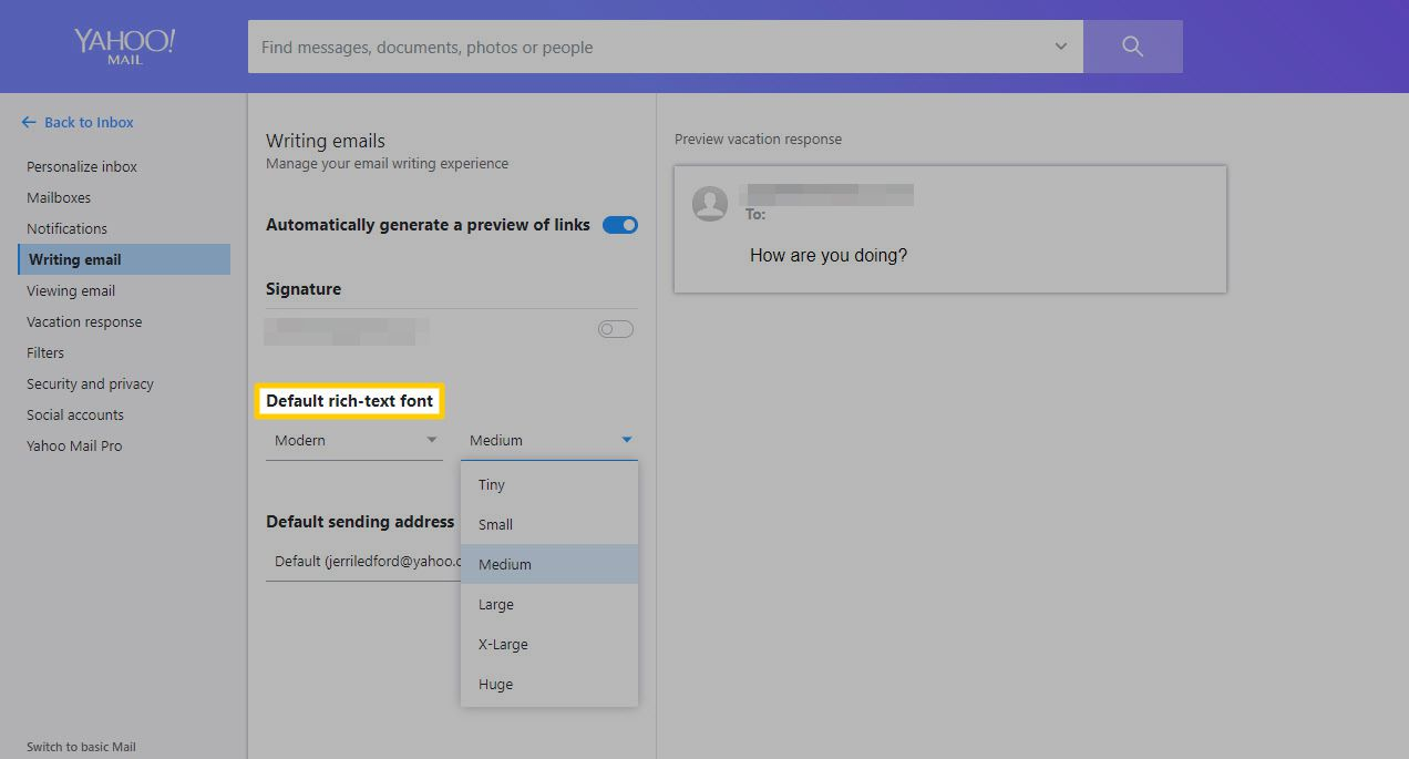 The Default rich text font options in Yahoo! Mail