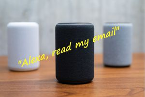 3 Amazon Echo devices with 'Alexa, read my emails' superimposed