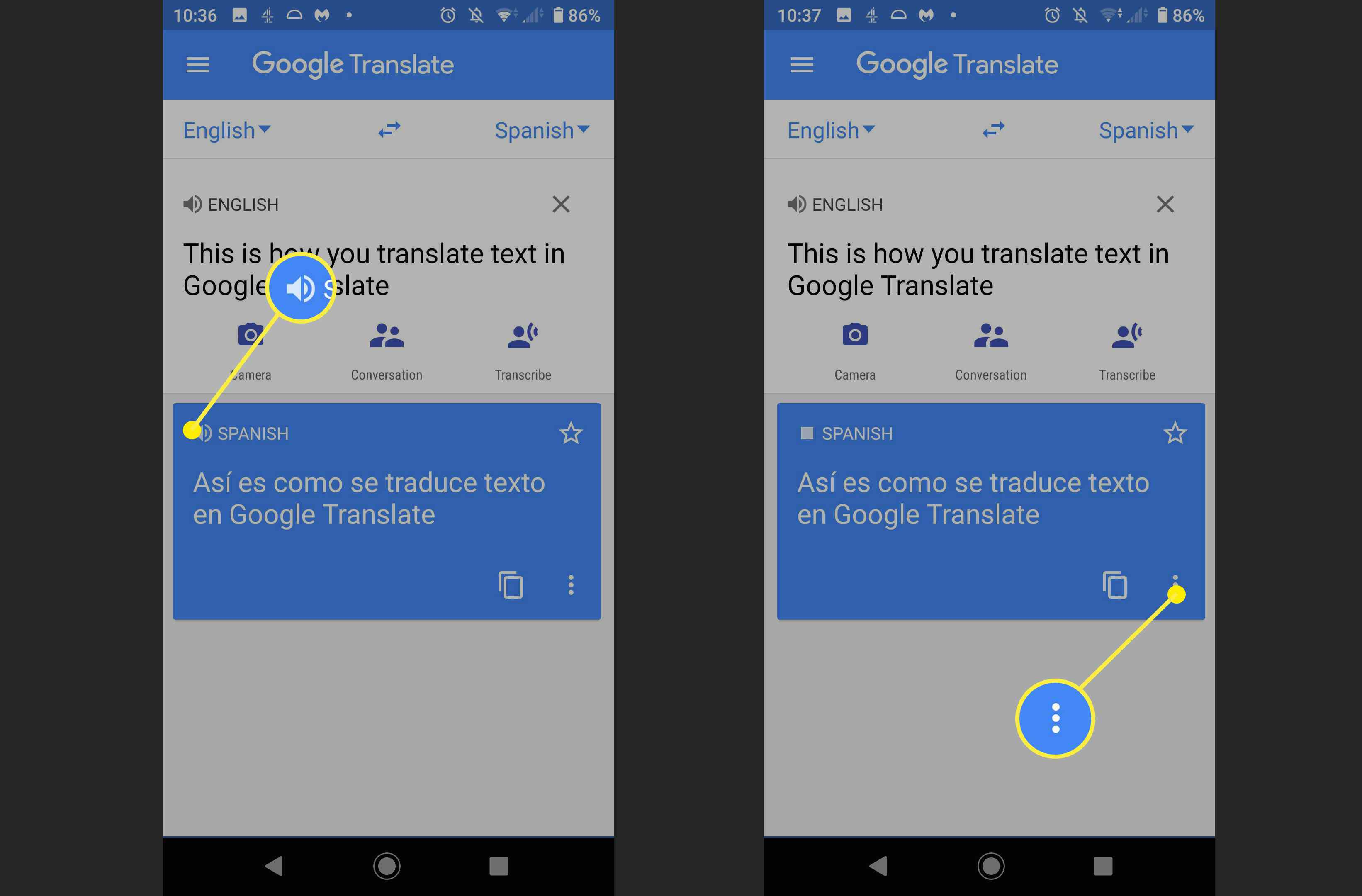 Screenshots of the speaker icon and the more menu on Google Translate.